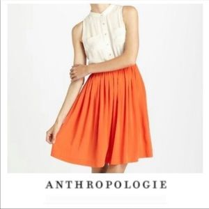 Anthropologie Sleeveless Orange Pleated Dress 8